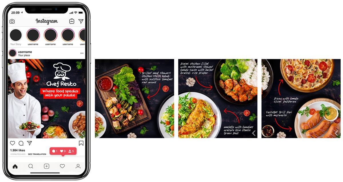 instagarm-carousel-ad for restaurant